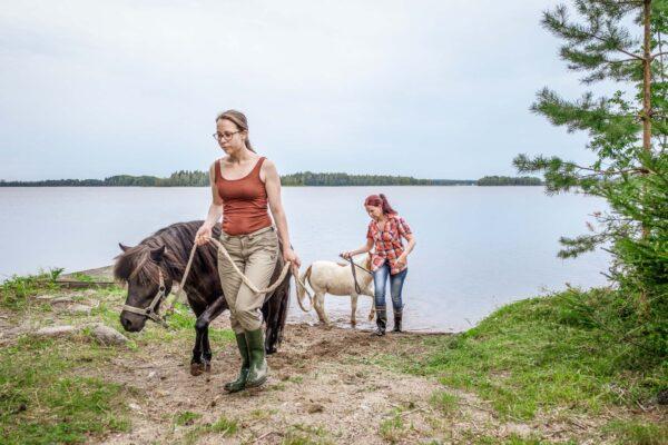 Kaksi agrologiopiskelijaa taluttamassa hevosia.