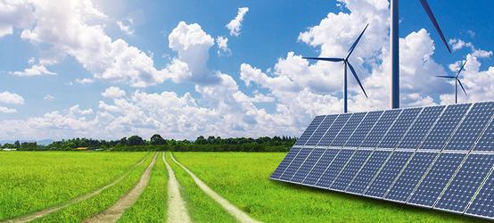 Fields and solar power.