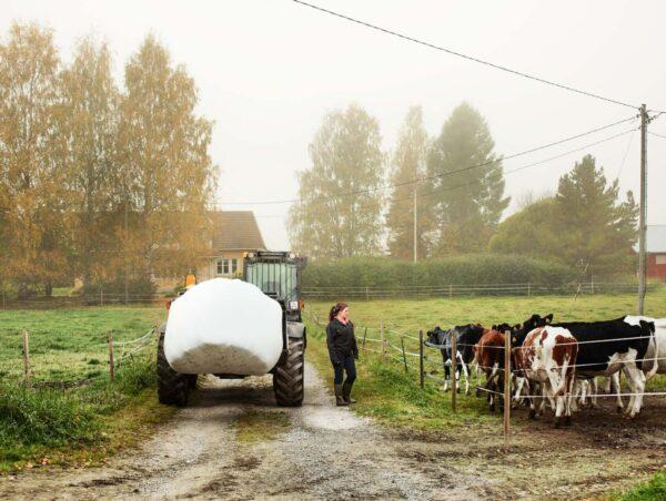 Traktori ja ihminen pellolla.