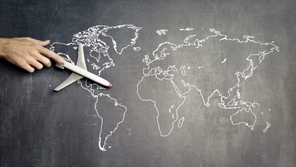 An airplane on a world map