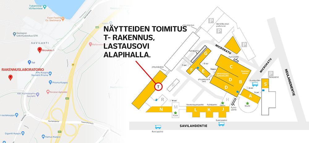 Rakennustekniikan käyntiosoite: Microkatu 1, T-rakennus (PL) 70201 Kuopio. Näytteiden toimitus: T-rakennus, lastausovi alapihalla.