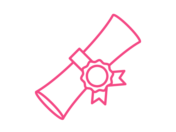 Pink symbol of a rolled diploma.