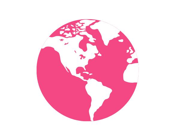 Vaaleanpunainen piirroskuva maapallosta.