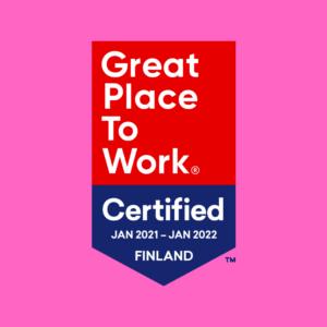 Great place to work -sertifikaatin logo, jossa lukee: sertifioitu tammikuu 2021 - tammikuu 2022