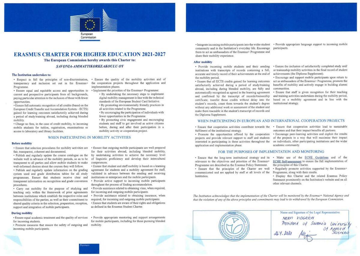 Savonia Erasmus Charter for Higher Education 2021-2027