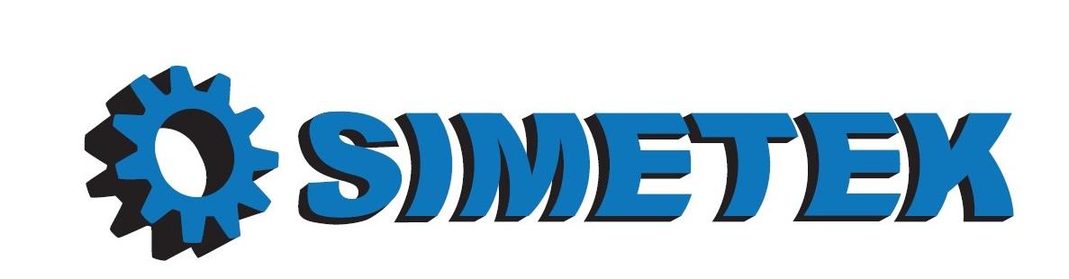 Simetek-yrityksen logo, jonka kirjaimet ovat sinisellä ja sanan edessä kuva rattaan kuva.
