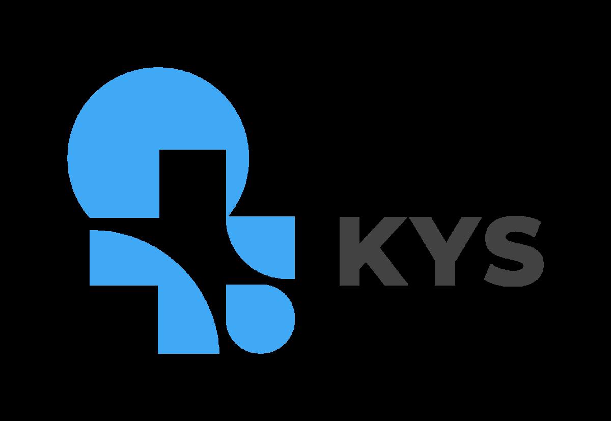 Kuopion yliopistollisen sairaalan logo, joss lukee sinisellä KYS.