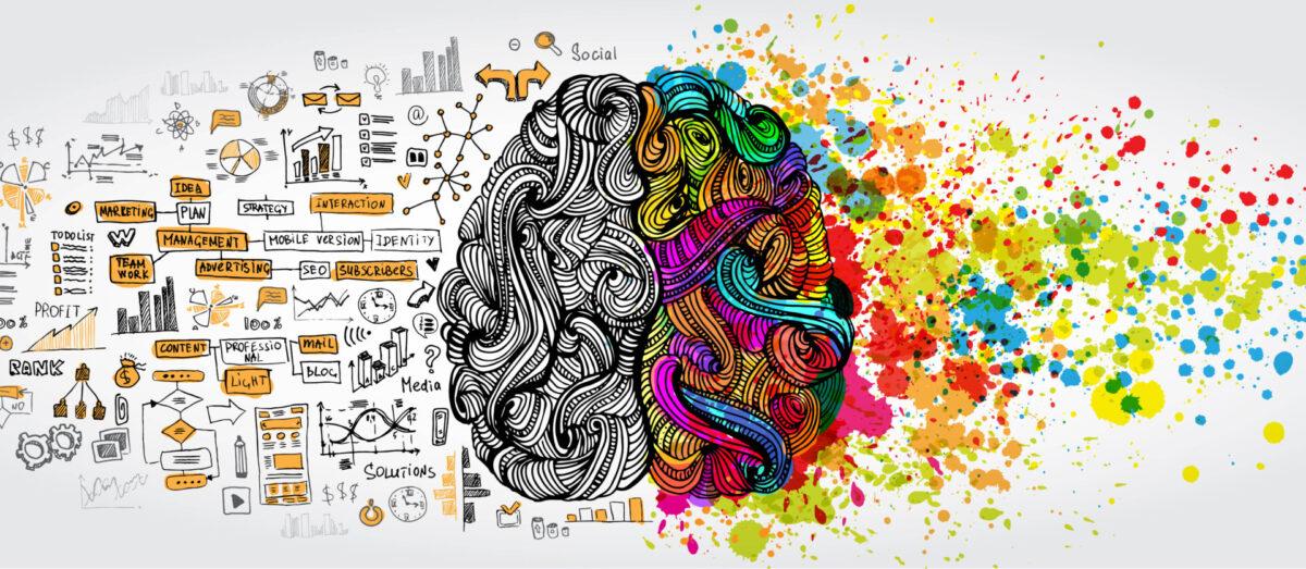 Kuvituskuvassa on piirroskuva aivoista, joiden vasen puolisko on täynnä harmahtavia kaavioita ja numeroita ja toinen puoli on värikäs ja täynnä erilaisia kuvioita.