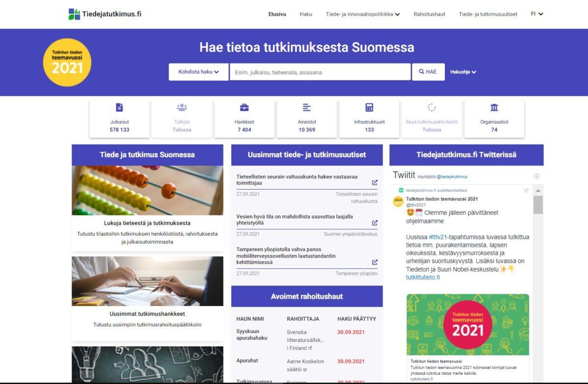 Tiedejatutkimus.fi on moniulotteinen näkymä suomalaiseen tutkimustietoon,